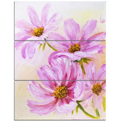 Designart Blooming Pink Cosmos Flowers Floral ArtTriptych Canvas Print
