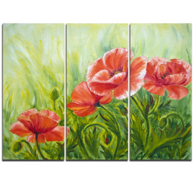Designart Blooming Poppies With Green Leaves LargeFloral Wall Art Triptych Canvas