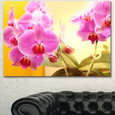 Designart Blooming Purple Orchid Flowers Floral Canvas Art Print