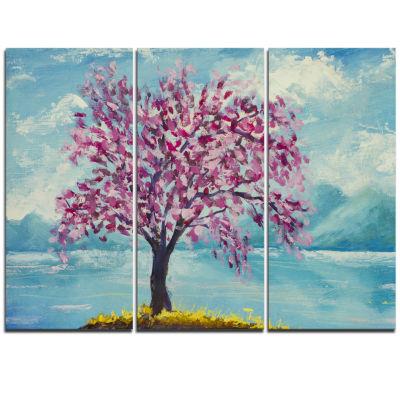 Designart Blooming Sakura Flowers Floral Art Triptych Canvas Print