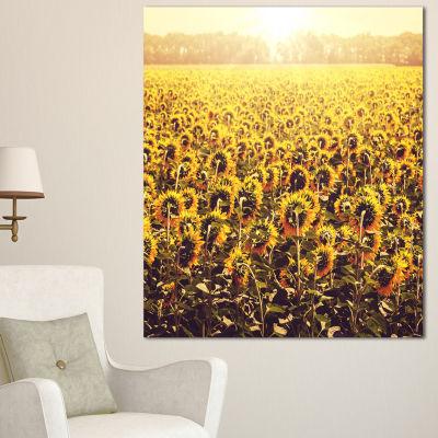 Design Art Blooming Sunflowers At Sunset OversizedLandscape Canvas Art - 3 Panels