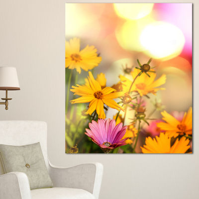 Designart Blooming Yellow And Pink Flowers FloralCanvas Art Print