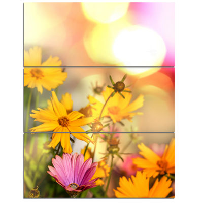 Designart Blooming Yellow And Pink Flowers FloralCanvas Art Print - 3 Panels