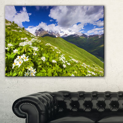 Designart Blossom Flowers In Mountains Landscape Artwork Canvas