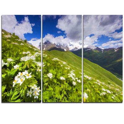 Designart Blossom Flowers In Mountains Landscape Artwork Triptych Canvas