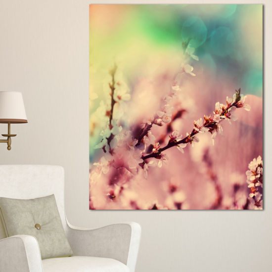 Designart Blossoming Pink Cherry Branches Floral Art Canvas Print