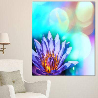 Designart Blossoming Purple Lotus Flower Floral Art Canvas Print - 3 Panels