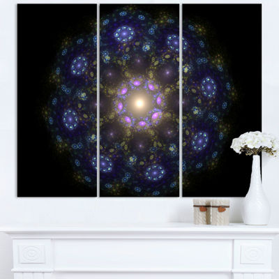 Designart Blue Abstract Fractal Mandala Flower Large Floral Wall Art Triptych Canvas
