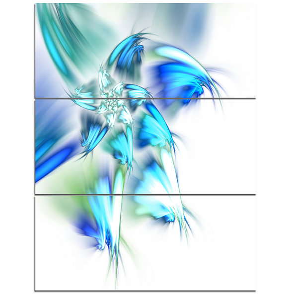 Designart Blue And Green Fractal Flower Floral Triptych Canvas Art Print