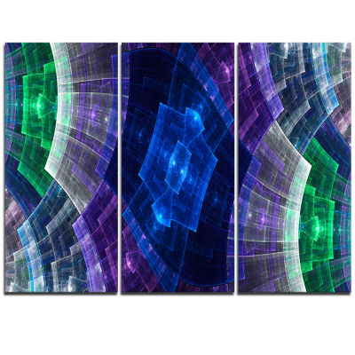Designart Blue And Green Fractal Flower Grid Abstract Art On Triptych Canvas
