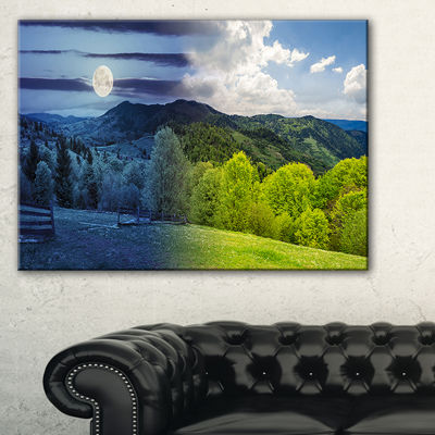 Designart Blue And Green Hillside Meadow LandscapeArtwork Canvas