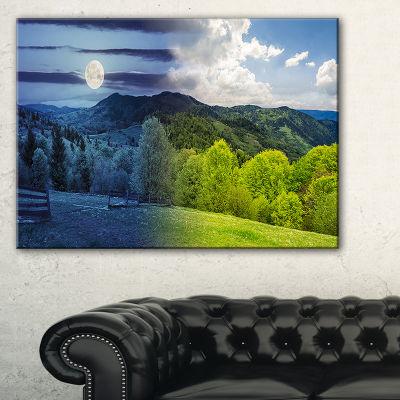 Designart Blue And Green Hillside Meadow LandscapeArtwork Canvas