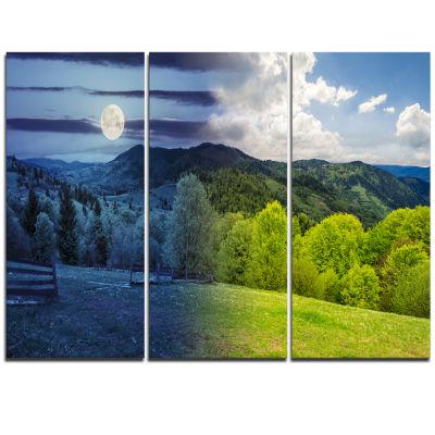 Designart Blue And Green Hillside Meadow LandscapeArtwork Triptych Canvas