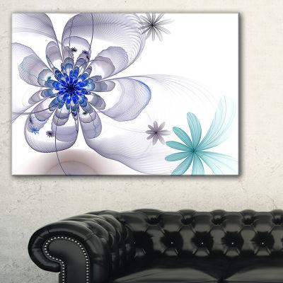 Designart Blue And Grey Symmetrical Fractal FlowerFloral Canvas Art Print