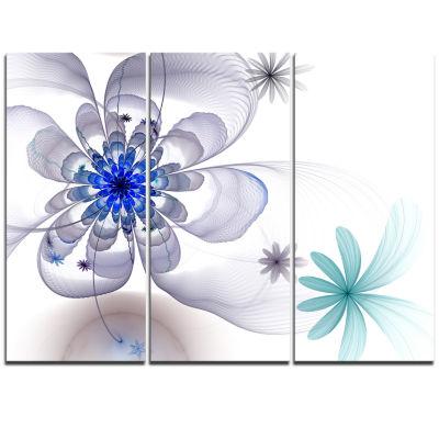Designart Blue And Grey Symmetrical Fractal FlowerFloral Triptych Canvas Art Print
