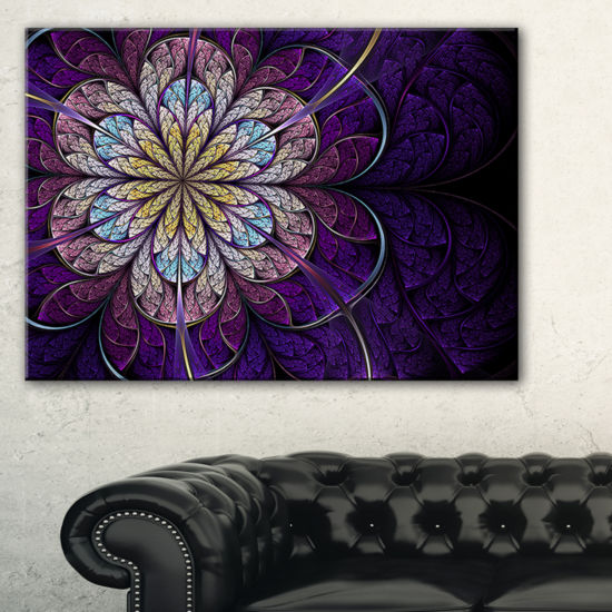 Designart Blue And Pink Large Fractal Flower Floral Canvas Art Print