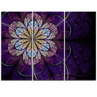 Designart Blue And Pink Large Fractal Flower Floral Triptych Canvas Art Print