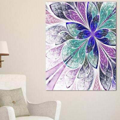 Designart Blue And Purple Fractal Flower Design Floral Canvas Art Print