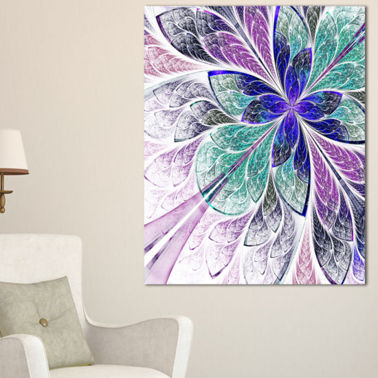Designart Blue And Purple Fractal Flower Design Floral Canvas Art Print