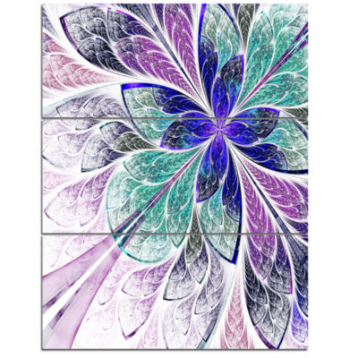 Designart Blue And Purple Fractal Flower Design Floral Triptych Canvas Art Print