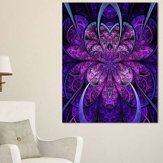 Designart Blue And Purple Large Fractal Flower Floral Canvas Art Print