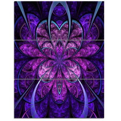 Designart Blue And Purple Large Fractal Flower Floral Triptych Canvas Art Print
