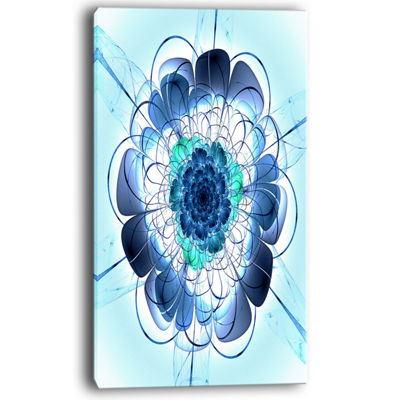 Designart Blue And Purple Rounded Flower Floral Art Canvas Print
