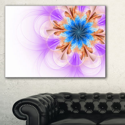 Designart Blue And Purple Symmetrical Fractal Flower Floral Canvas Art Print