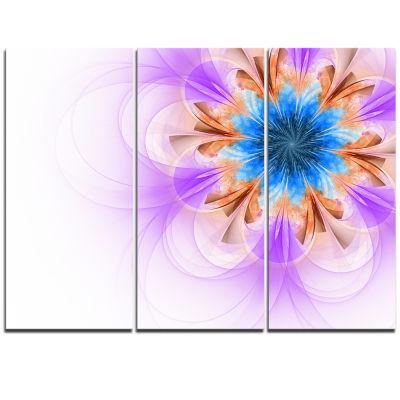 Designart Blue And Purple Symmetrical Fractal Flower Floral Triptych Canvas Art Print