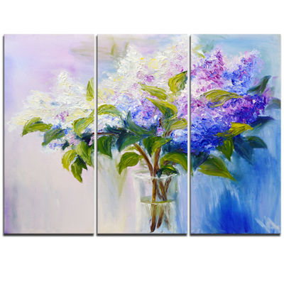 Designart Blue And White Lilacs In Vase Floral ArtTriptych Canvas Print