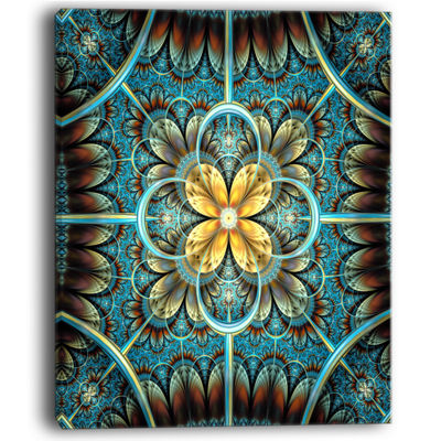 Designart Blue And Yellow Large Fractal Flower Design Floral Canvas Art Print