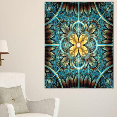 Designart Blue And Yellow Large Fractal Flower Design Floral Canvas Art Print