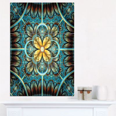 Designart Blue And Yellow Large Fractal Flower Design Floral Triptych Canvas Art Print