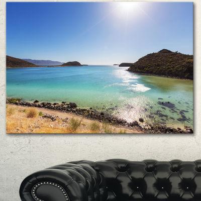 Designart Blue Baja California Beach Seashore Canvas Art Print - 3 Panels