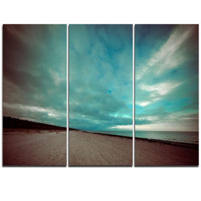 Designart Blue Baltic Beach In Fall With Clouds Seashore Triptych Canvas Art Print
