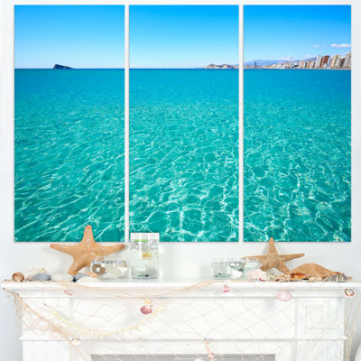 Designart Blue Benidorm Levante Beach Seascape Triptych Canvas Art Print