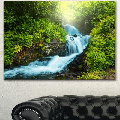 Designart Blue Creek In Green Rain Forest Oversized Landscape Canvas Art - 3 Panels
