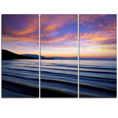 Designart Blue Dramatic Sky Over Layered Waves Seascape Triptych Canvas Art Print