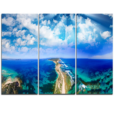 Designart Blue Fort Nepean Road From Helicopter Landscape Triptych Canvas Art Print