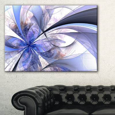 Designart Blue Fractal Flower Design In White Floral Canvas Art Print