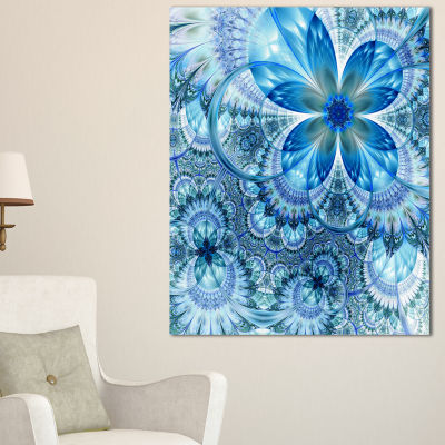Designart Blue Fractal Flower Pattern Design Floral Art Canvas Print