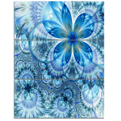 Designart Blue Fractal Flower Pattern Design Floral Art Triptych Canvas Print