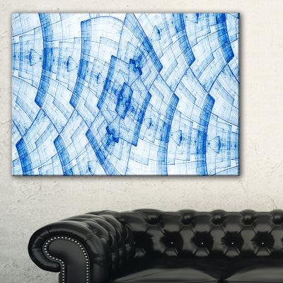 Designart Blue Fractal Flower Pattern Grid Abstract Art On Canvas