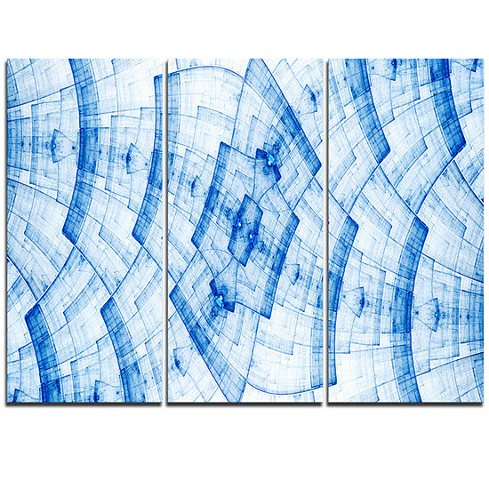 Designart Blue Fractal Flower Pattern Grid Abstract Art On Triptych Canvas