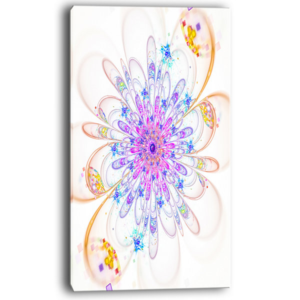 Design Art Blue Fractal Flower With Abstract PetalsFloral Canvas Art Print