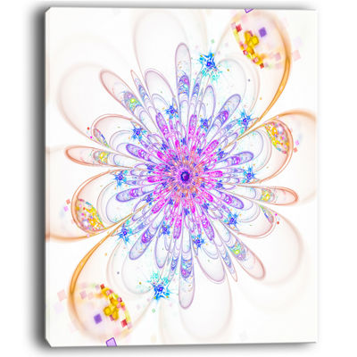 Designart Blue Fractal Flower With Abstract PetalsFloral Canvas Art Print