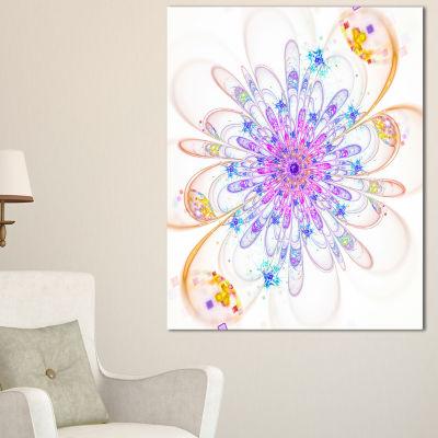 Designart Blue Fractal Flower With Abstract PetalsFloral Canvas Art Print