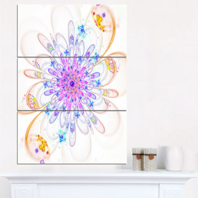 Designart Blue Fractal Flower With Abstract PetalsFloral Triptych Canvas Art Print