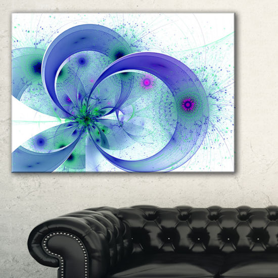 Designart Blue Fractal Flower With Curved PetalsFloral Canvas Art Print
