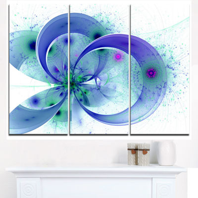 Designart Blue Fractal Flower With Curved PetalsFloral Triptych Canvas Art Print